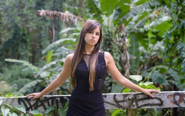 Women Model Models Brunette Long Hair Black Dress Graffiti HD Wallpaper   Background Image