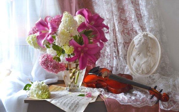 Photography Still Life Vase Hydrangea Lily Violin Sheet Music HD Wallpaper | Background Image