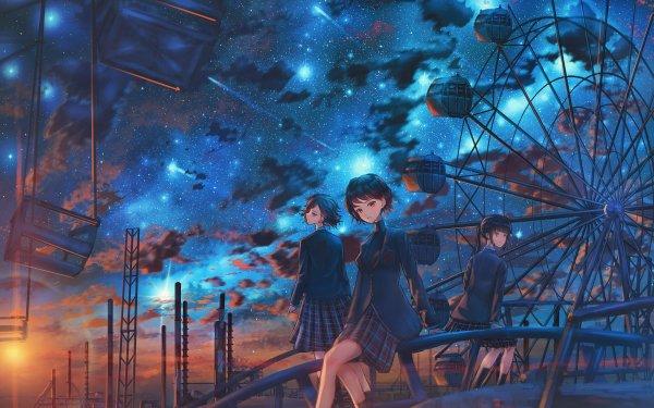 Anime Original Ferris Wheel Short Hair Starry Sky Uniform Sunset HD Wallpaper   Background Image