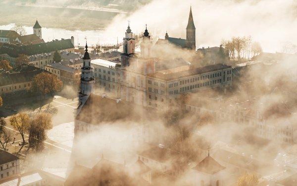 Man Made Kaunas Cities Lithuania Fog HD Wallpaper | Background Image