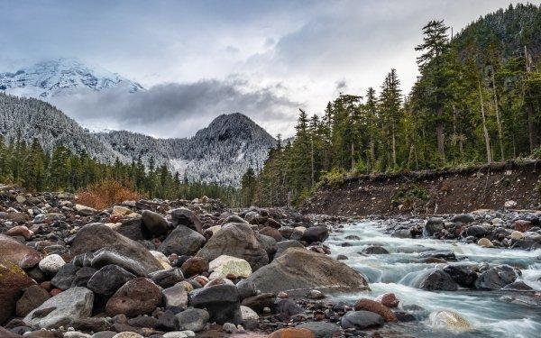 Earth Mount Rainier Mountains Stone Stream Mountain HD Wallpaper | Background Image