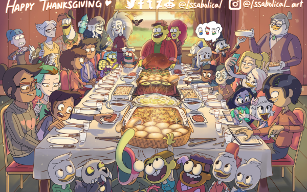 TV Show Crossover The Owl House DuckTales Huey Duck Dewey Duck Louie Duck King Clawthorne Amphibia Scrooge McDuck Della Duck Webby Vanderquack Donald Duck Thanksgiving Luz Noceda Eda Clawthorne Anne Boonchuy Food Gus Porter Willow Park Amity Blight Sprig Plantar Lilith Clawthorne HD Wallpaper | Background Image