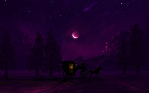 Artistic Night Carriage Horse Moon Forest Winter HD Wallpaper   Background Image