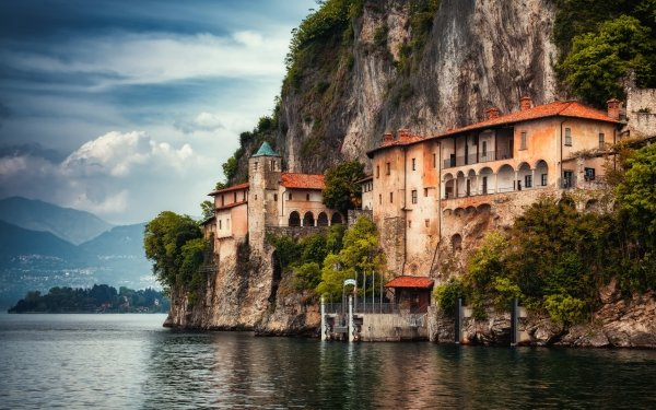 Religious Monastery Italy Lake Maggiore Lombardy Rock Lake HD Wallpaper | Background Image