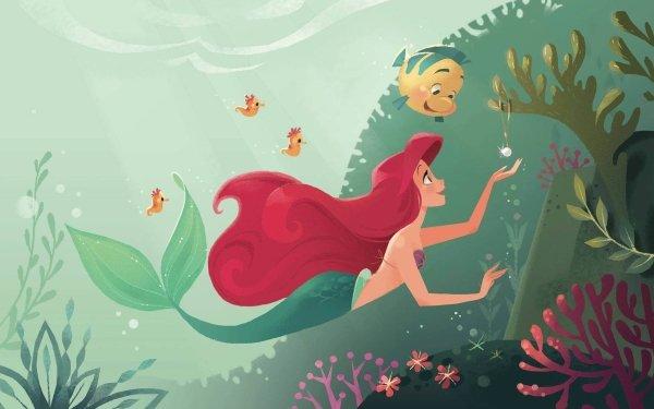 Movie The Little Mermaid (1989) The Little Mermaid Ariel Flounder Mermaid Red Hair Seahorse Long Hair HD Wallpaper | Background Image