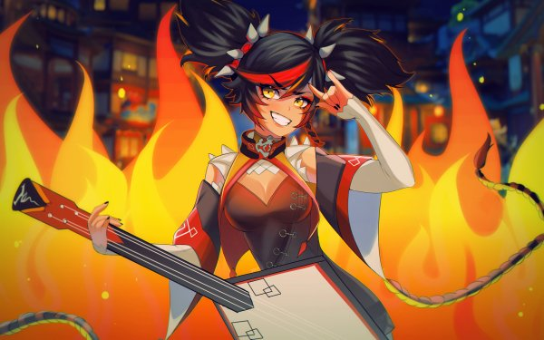 Video Game Genshin Impact Xinyan Black Hair Yellow Eyes HD Wallpaper   Background Image