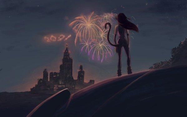 Anime Original Cat Girl New Year 2021 Fireworks HD Wallpaper   Background Image