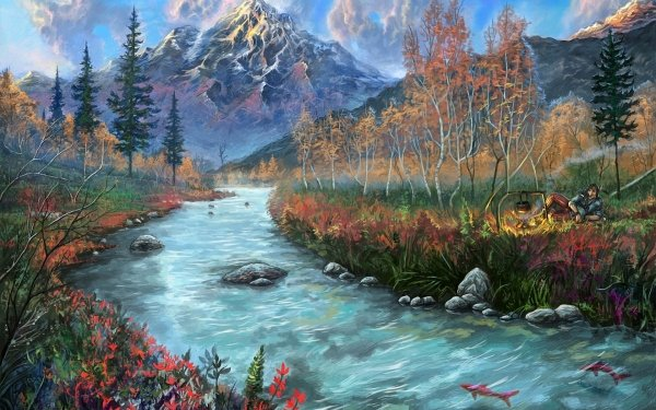Artistic Painting River Fish HD Wallpaper | Background Image