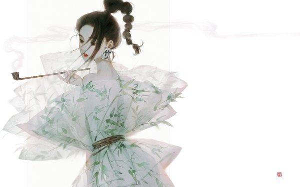Anime Girl Black Hair Original Smoking Pipe Dress HD Wallpaper | Background Image