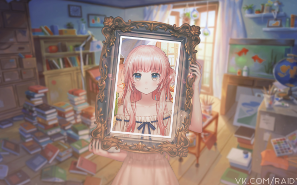 Anime Girl Pink Hair Frame Picture-In-Picture HD Wallpaper | Background Image