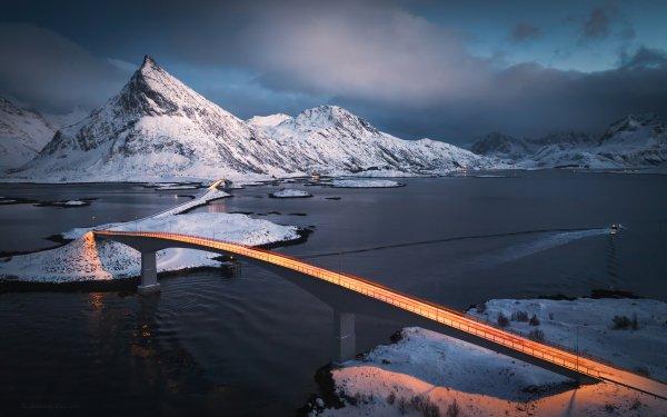 Photography Time-lapse Night Bridge Mountain HD Wallpaper   Background Image