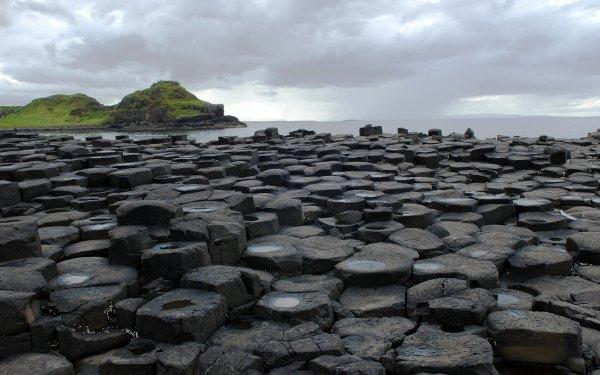 Earth Beach Columnar Basalt Rock Ireland Northern Ireland HD Wallpaper | Background Image