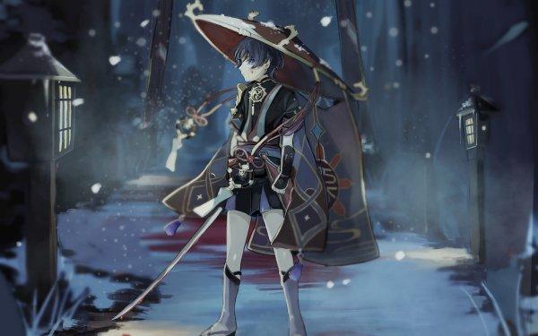Videospel Genshin Impact Scaramouche HD Wallpaper   Achtergrond