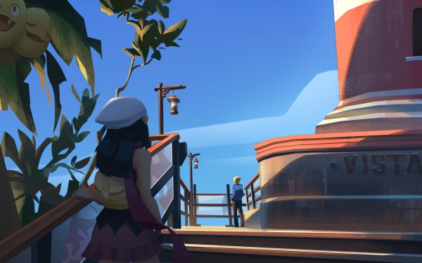 Anime Pokémon Dawn Volkner Alolan Exeggutor HD Wallpaper   Background Image