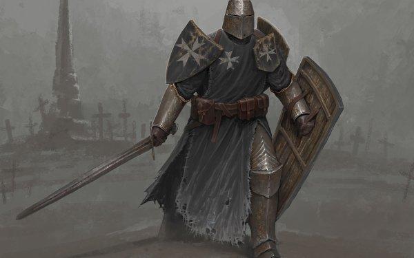 Fantasy Knight Sword Armor Warrior HD Wallpaper | Background Image