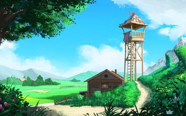 Anime Landscape Hut Sky HD Wallpaper | Background Image