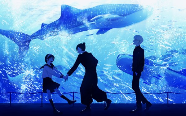 Anime Jujutsu Kaisen White Hair Satoru Gojo Aquarium Whale Suguru Geto Black Hair Shoko Ieiri School Uniform HD Wallpaper | Background Image