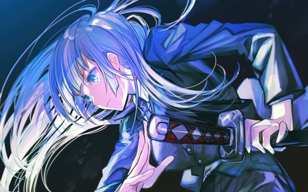 Anime Jujutsu Kaisen Kasumi Miwa Blue Hair Blue Eyes Long Hair School Uniform HD Wallpaper | Background Image