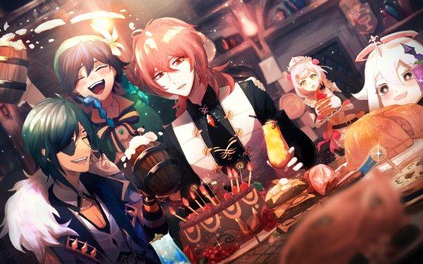 Video Game Genshin Impact Noelle Paimon Venti Kaeya Diluc HD Wallpaper | Background Image