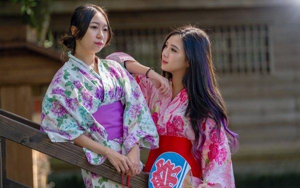 Women Asian Model Brunette Kimono HD Wallpaper | Background Image