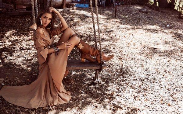 Celebrity Olivia Culpo Models United States Model Coat Boots Swing Brunette HD Wallpaper | Background Image