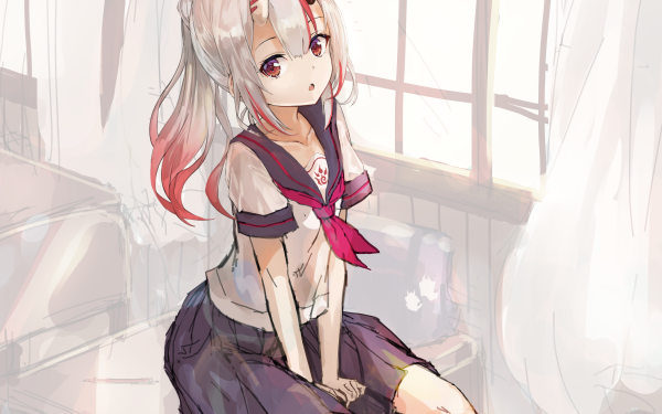 Anime Virtual Youtuber Hololive Nakiri Ayame School Uniform White Hair Red Eyes Two-Toned Hair HD Wallpaper   Background Image