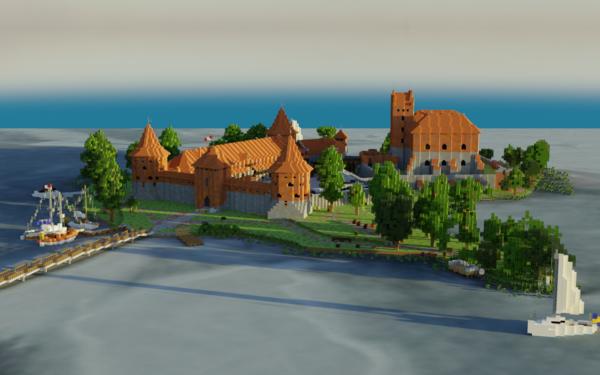 Video Game Minecraft Trakai Trakai Island Castle Lithuania HD Wallpaper | Background Image