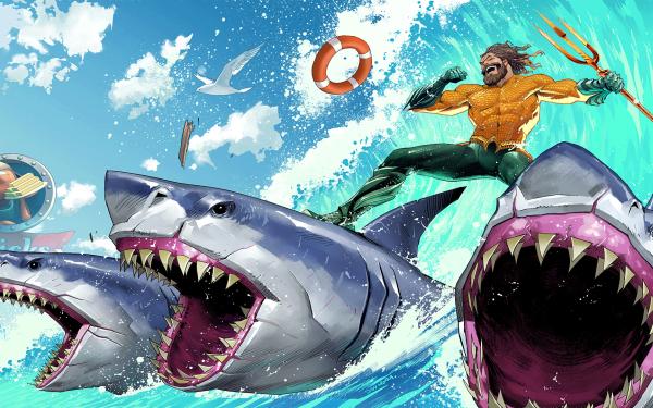 Video Game Fortnite Aquaman Fortnite Loading Screen Shark HD Wallpaper | Background Image