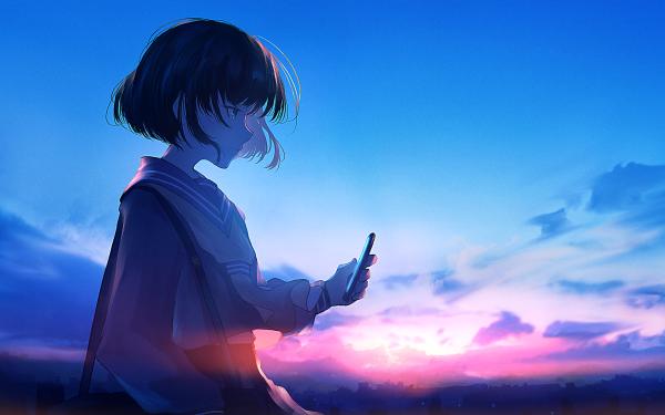 Anime Girl Short Hair Smartphone Black Hair HD Wallpaper | Background Image