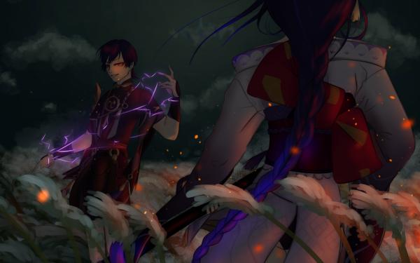 Videospel Genshin Impact Baal Raiden Shogun Scaramouche HD Wallpaper   Achtergrond