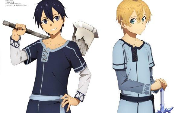 Anime Sword Art Online: Alicization Sword Art Online Kirito Eugeo Blue Rose Sword Blonde Black Hair HD Wallpaper | Background Image