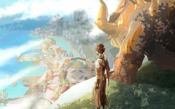 Video Game Genshin Impact Zhongli Azhdaha HD Wallpaper | Background Image
