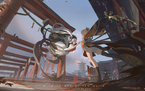 Video Game Genshin Impact Yoimiya Kamisato Ayaka HD Wallpaper   Background Image