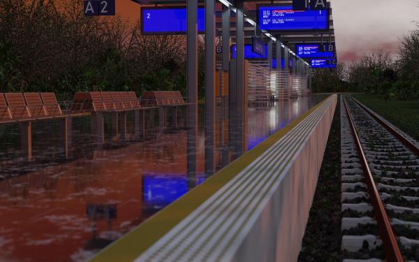 Man Made Train Station Blender Blender 3D HD Wallpaper   Background Image