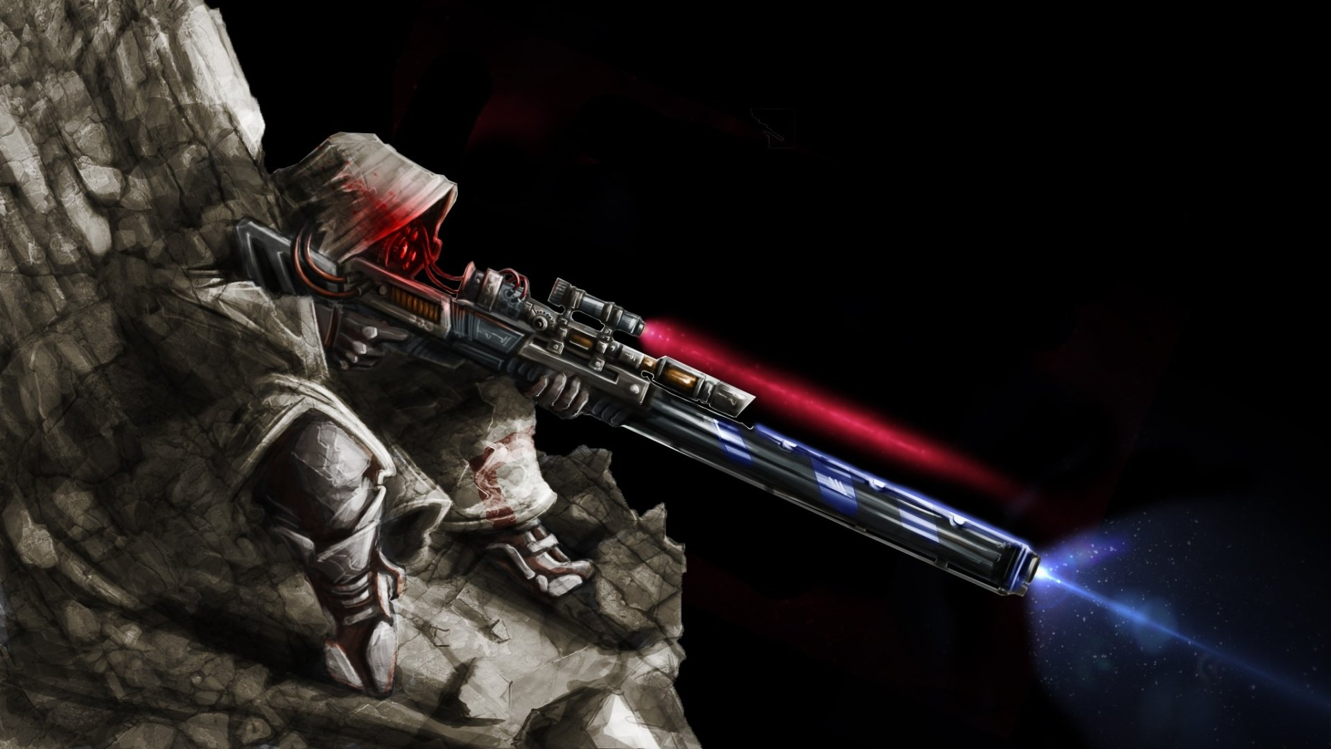 Sci Fi - Cyborg  Sniper Weapon Dark Soldier Wallpaper