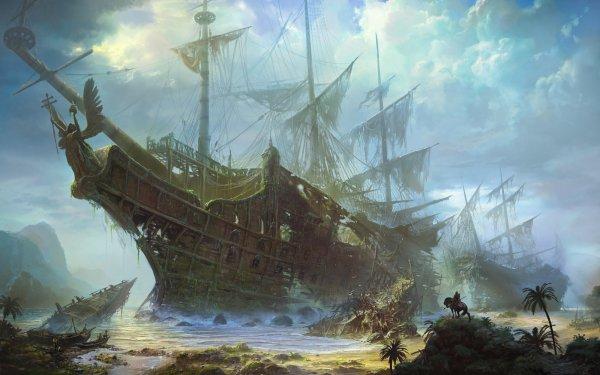 Fantasy Ship Pirate Shipwreck HD Wallpaper   Background Image