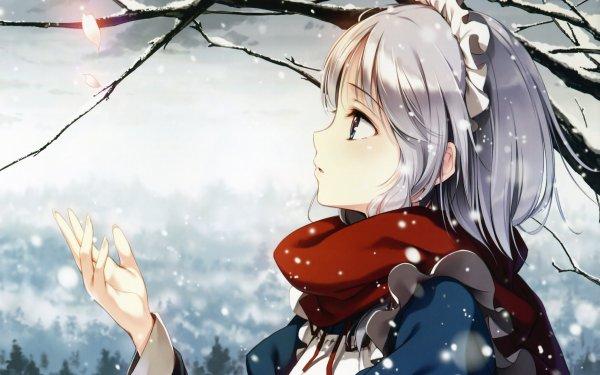 Anime Touhou Sakuya Izayoi White Hair HD Wallpaper | Background Image