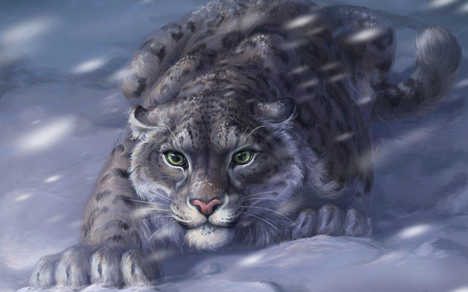 Digital Leopard Art Wallpapers: Snow Leopard HD Wallpaper