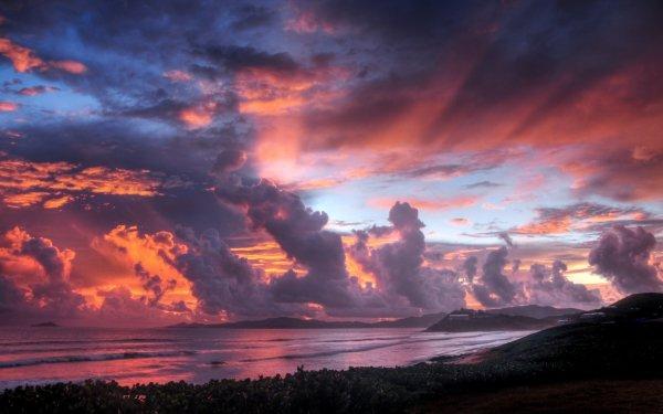 Earth Sunset Coastline Sky Cloud Shore Scenic Pastel HD Wallpaper | Background Image