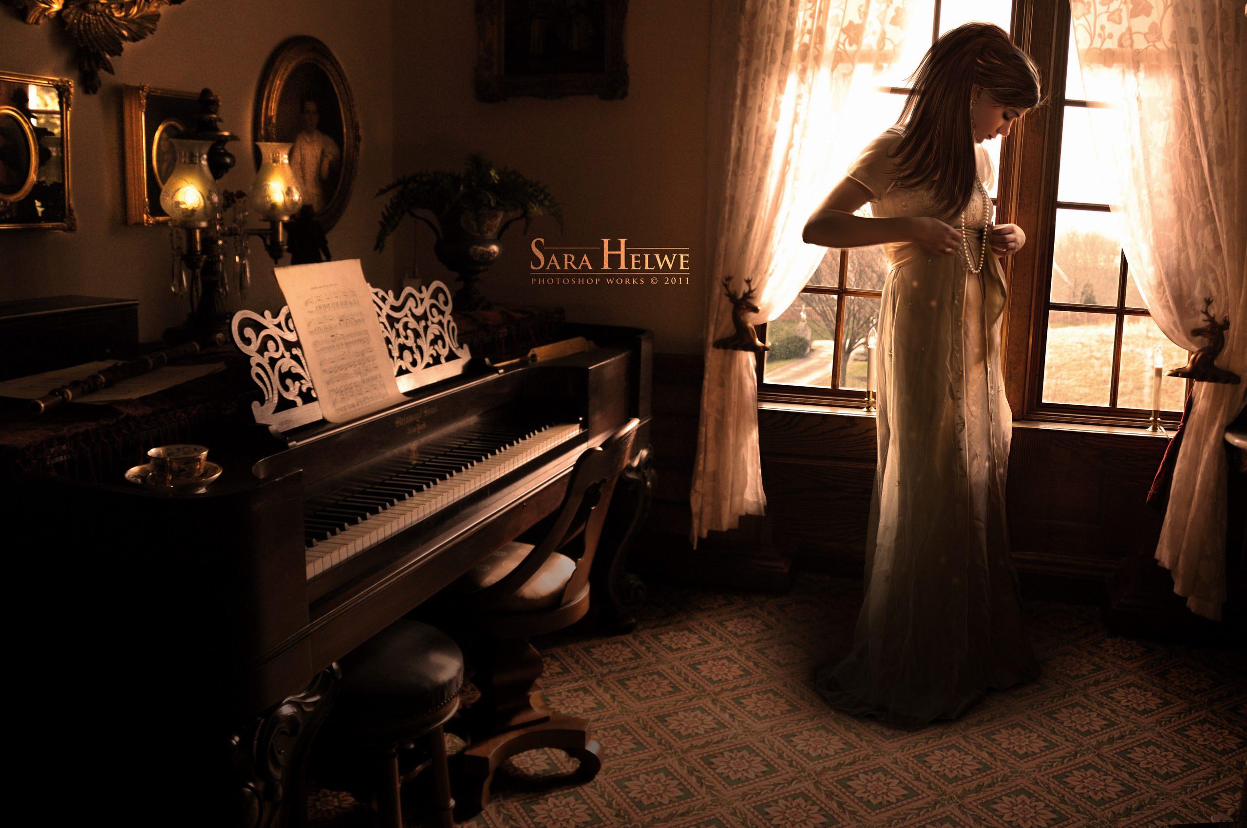 girl on dark wallpaper - photo #33