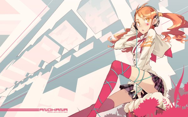Anime Anohana Naruko Anjou Sitting Twintails Skirt Headphones Thigh Highs HD Wallpaper   Background Image