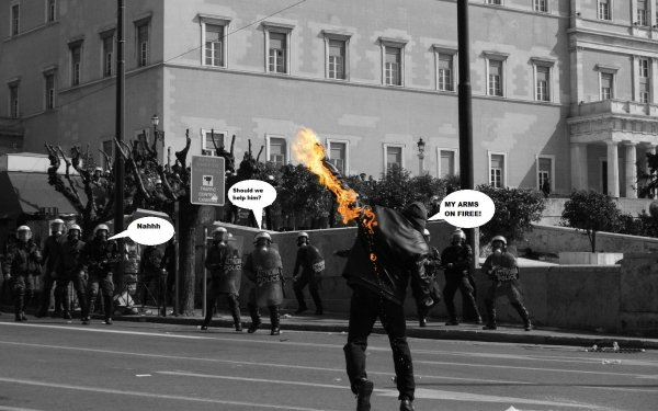Humor Sadic Anarchy Police Fire HD Wallpaper   Background Image