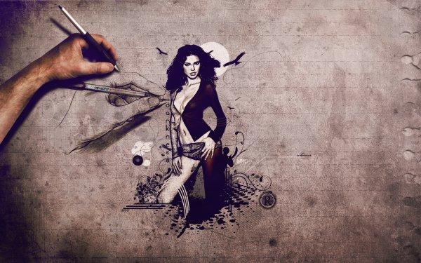 Women Artistic Illistration Drawing Sketch HD Wallpaper   Background Image