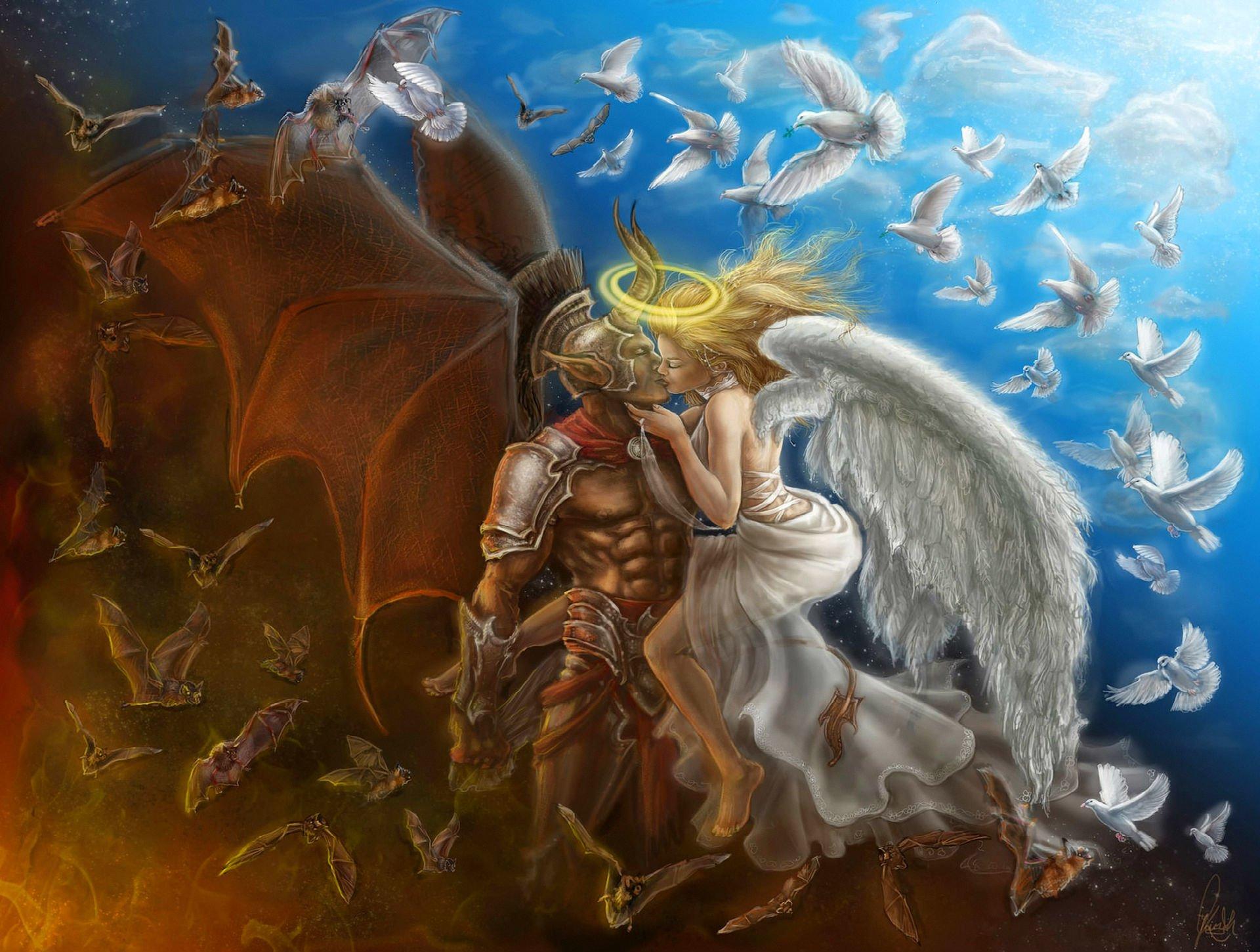 Fantasy - Love  Good vs. Evil Angel Demon Oocult Dove Bat Wallpaper