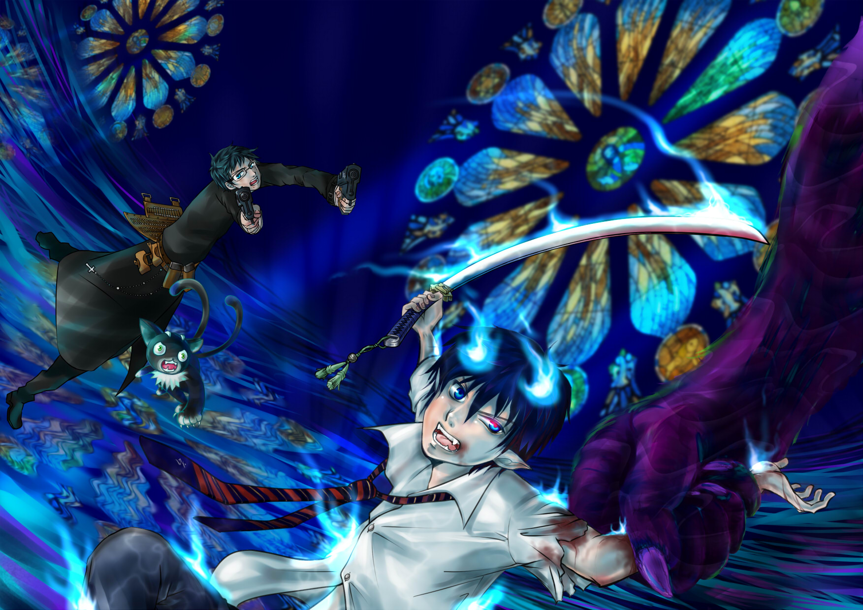 Blue exorcist wallpaper and background image 1753x1240 - Blue anime wallpaper ...