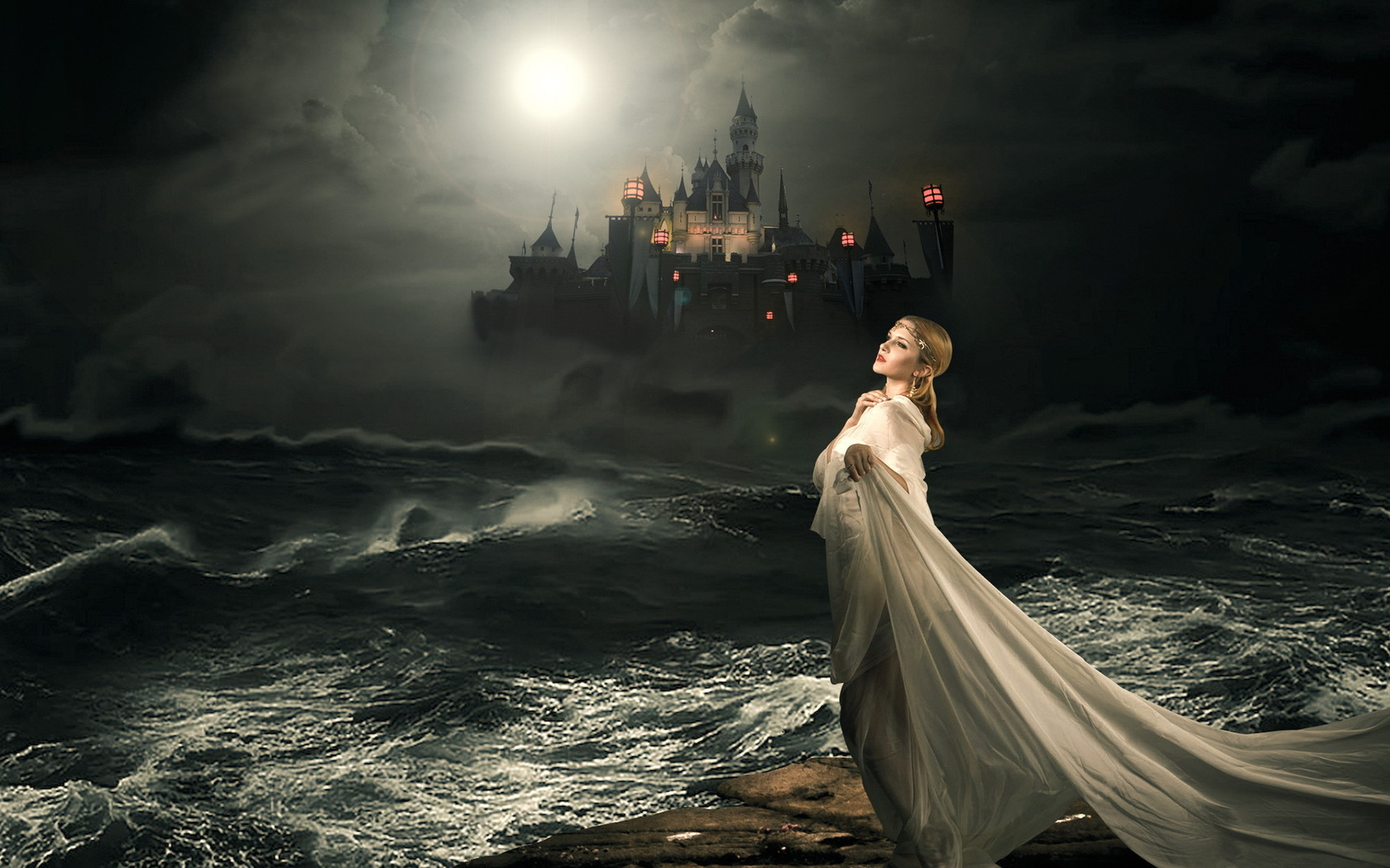 Dark - Gothic Castle Spooky Witch Ocean Mood Sadness Sad Sorrow Night ...: https://wall.alphacoders.com/big.php?i=302637
