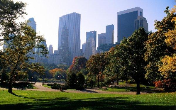 Man Made City Cities Fall Season Nature Central Park Manhattan New York HD Wallpaper | Background Image