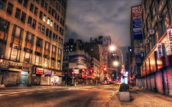 Man Made New York Cities United States City Architecture Building Place Night Light Street Road HDR Broadway HD Wallpaper | Background Image