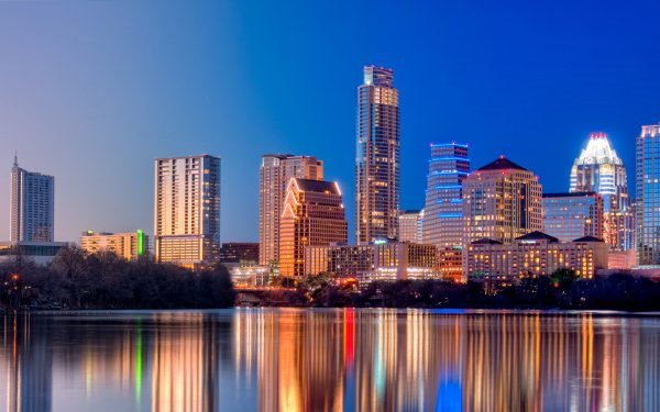 Man Made Austin Cities United States Cityscape Light Night Architecture Building Reflection Water Texas HD Wallpaper   Background Image