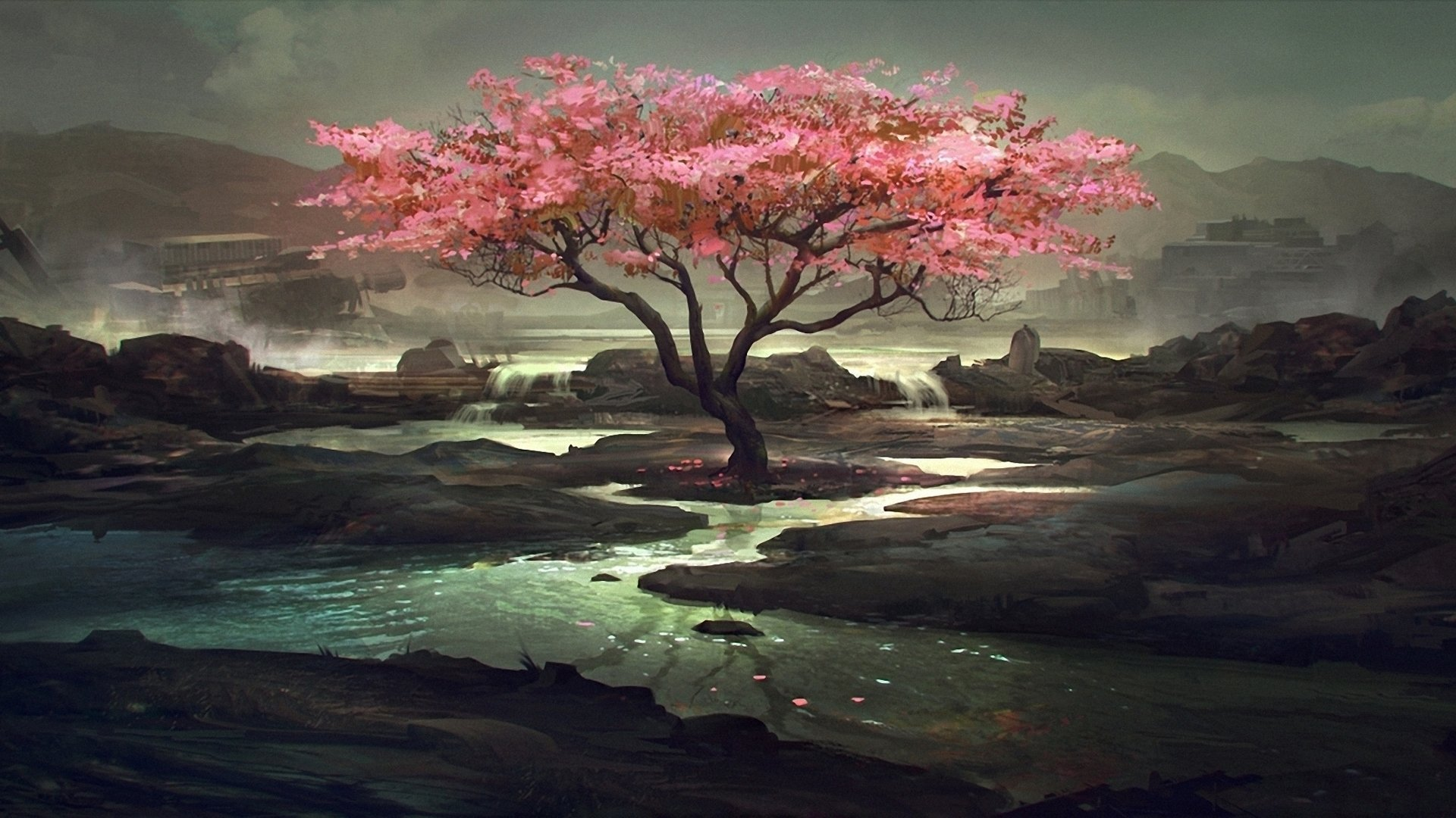 Artistic - Oriental  Landscape Scenic Tree Flower Rock Lake Wallpaper